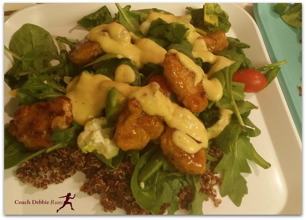 "This Mandarin Orange ""Chicken"" salad makes a great meal for those who want to eat less meat or are transitioning to vegetarian."