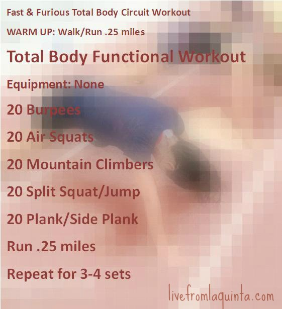 Here's a total body functional workout that is fast, challenging, and needs no equipment.