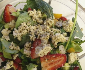Strawberry Salad with Tofu Feta and Super Greens. #Vegan Recipe