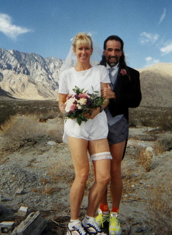 Our Anniversary! 15 years ago: The bride wore white shorts and lace #running bra
