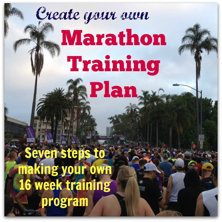Seven steps to help you create your own 16 week marathon training plan, for beginners, intermediate, or even advanced runners.