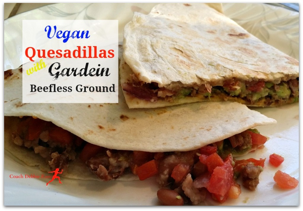 These delicious and easy quesadillas are made with Gardein Beefless Ground, which is vegan and gluten free. #meetchef #OMGardein #ad