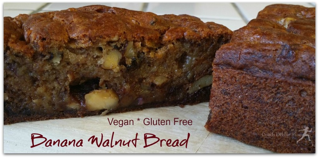 Banana Walnut Bread is vegan and gluten free, using aquafaba instead of eggs.