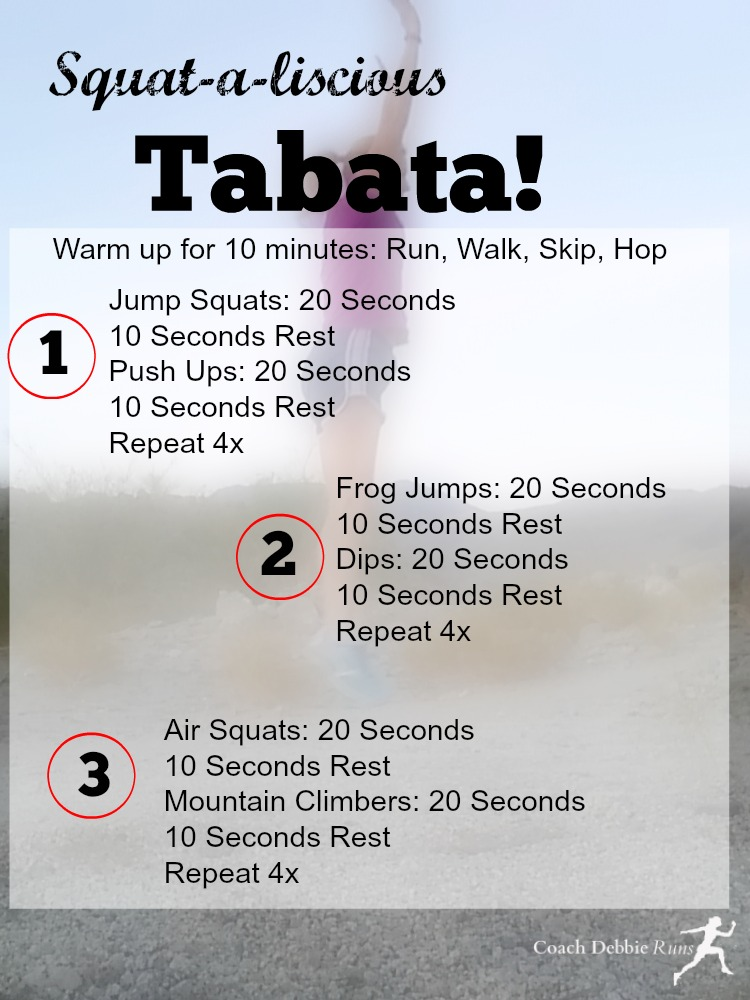 Squataliscious Tabata is a HIIT (high intensity interval training) workout that will get you fit fast. No equipment needed.