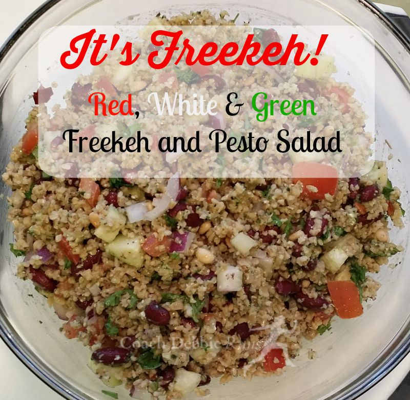It's freekeh! Red, White, and Green Salad with freekeh and pesto. It's vegan and delicious!