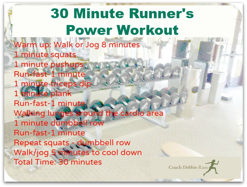 Try this fun and challenging 30 minute Runner's Power workout at the gym or at home!