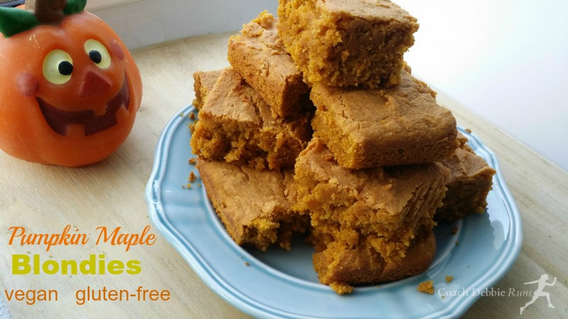 For your pumpkin addiction: Pumpkin Maple Blondies recipe. Delicious, vegan, and gluten free.
