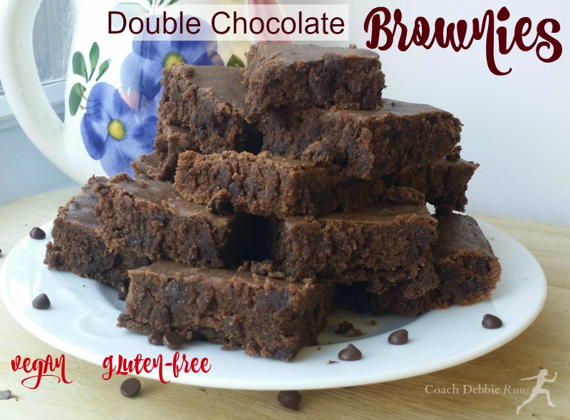 These lusciously rich double chocolate brownies are also vegan and gluten free.