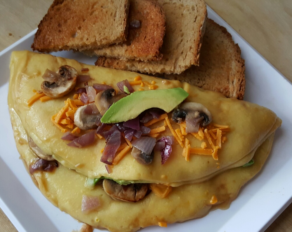 It's really here! A 100% vegan omelette! It's made with the VeganEgg and it tastes just like the real thing.