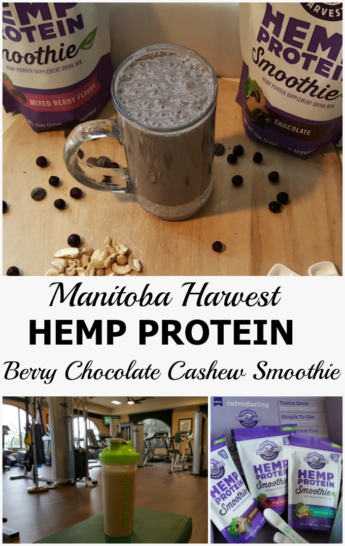 My new favorite smoothie, made with Manitoba Harvest Hemp Protein Smoothie. It has all the protein AND the greens. Try the recipe: Berry Chocolate Cashew Smoothie. Yum! #vegan #sweatpink #ad