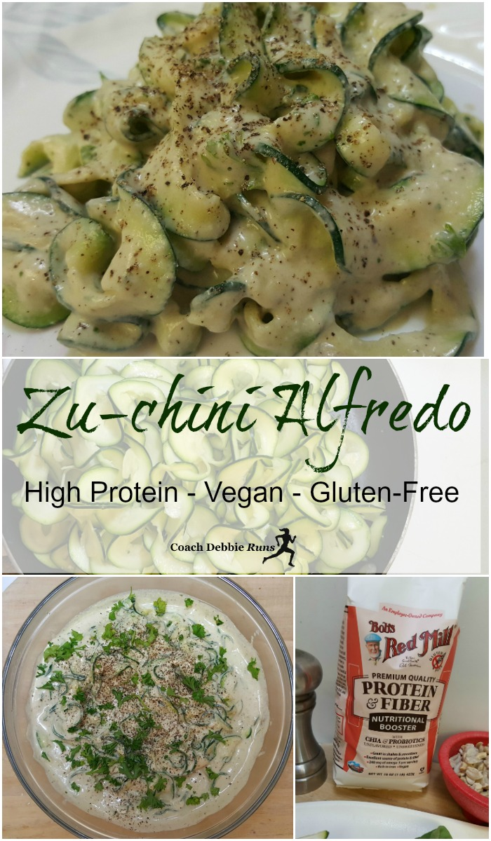 This vegan Zu-chini Alfredo has all the flavor and creaminess of the original, without the unhealthy fat. It is also gluten-free and has a boost of protein.