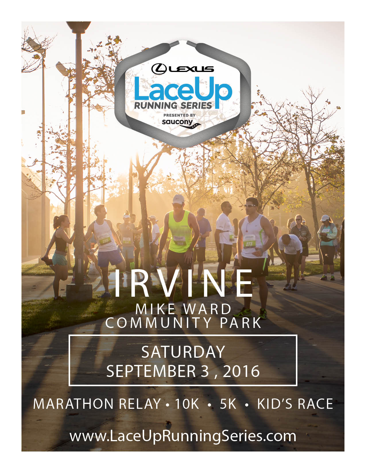 Join me in Irvine on Saturday, September 3 for the first race in the Lexus LaceUp Running Series!