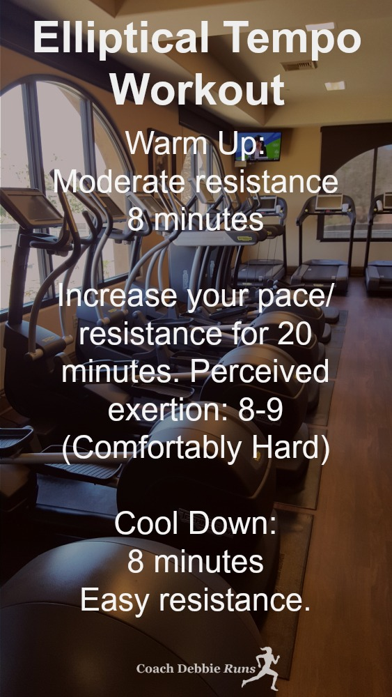 This Elliptical Tempo Workout is a great indoor workout that will make you a better runner.