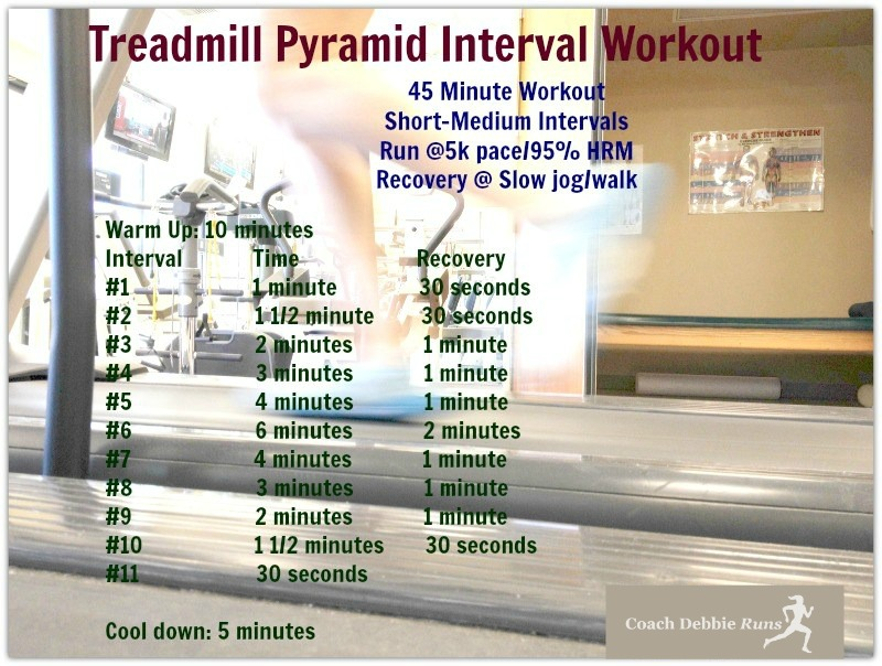 This Treadmill Pyramid Interval workout is a great Indoor Workout that will make you a better runner.