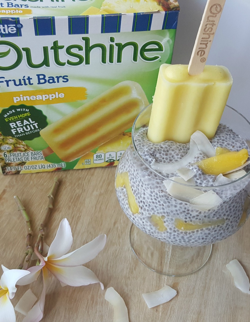 Easy and vegan, this Pina Colada Chia Pudding is also delicious! Make it fun and fresh with Outshine Pineapple Fruit Bar!