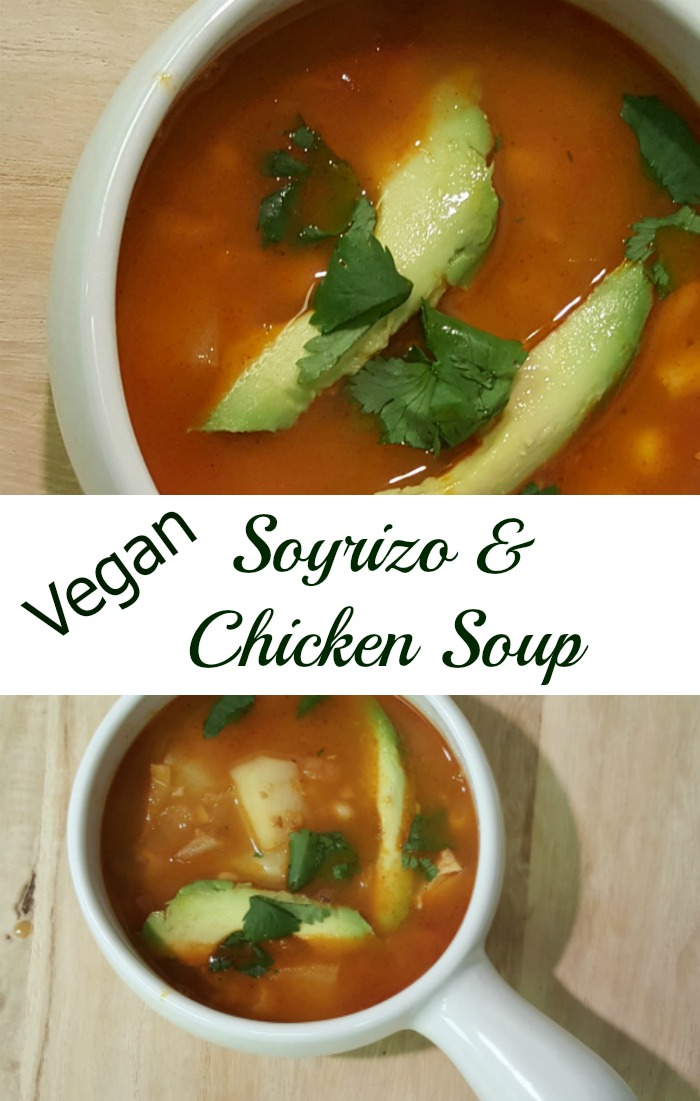 This vegan Soyrizo and Chicken Soup is easy to make, spicy, and delicious!