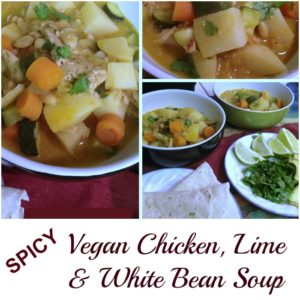 Spicy Vegan Chicken, Lime and White Bean Soup