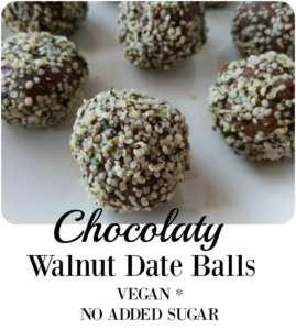 Chocolaty Walnut Date Balls [Vegan. No added sugar]