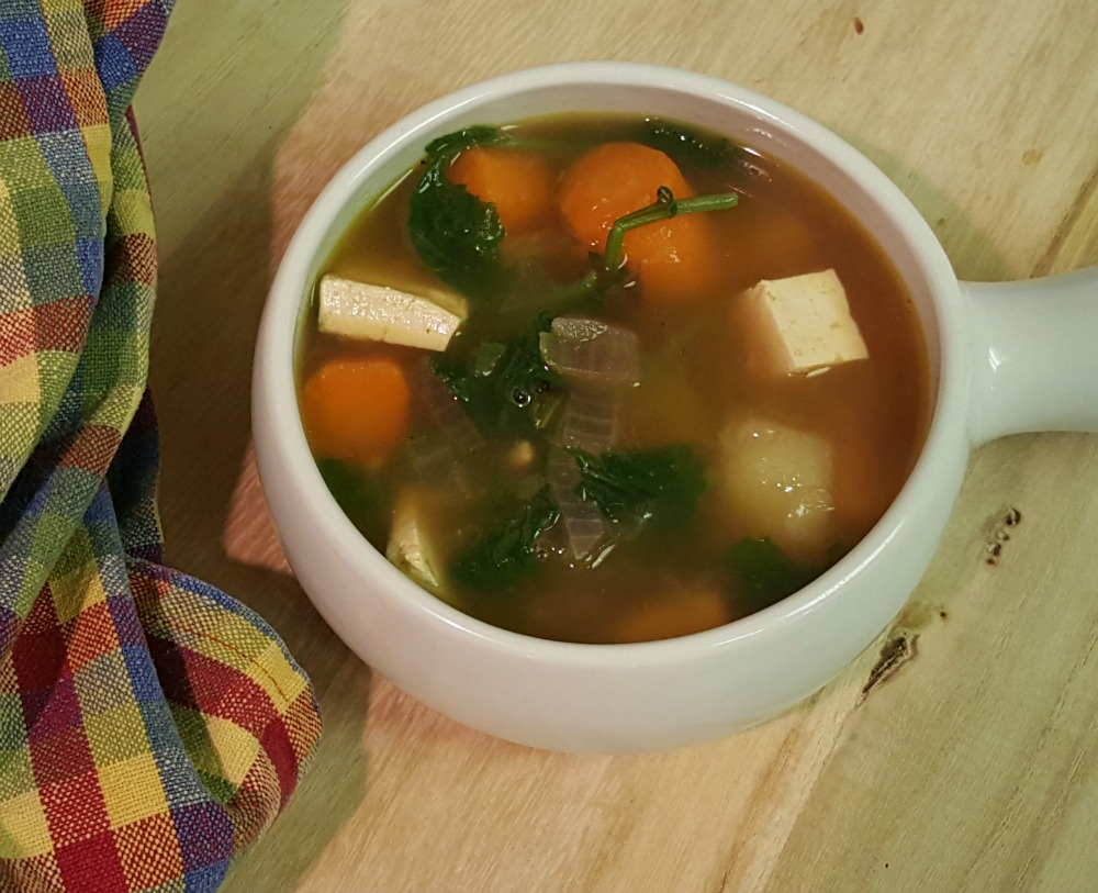 Roasted Vegetable Soup with Tofu, White Beans, and Kale