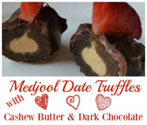 Medjool Date Truffles with Cashew Butter and Dark Chocolate