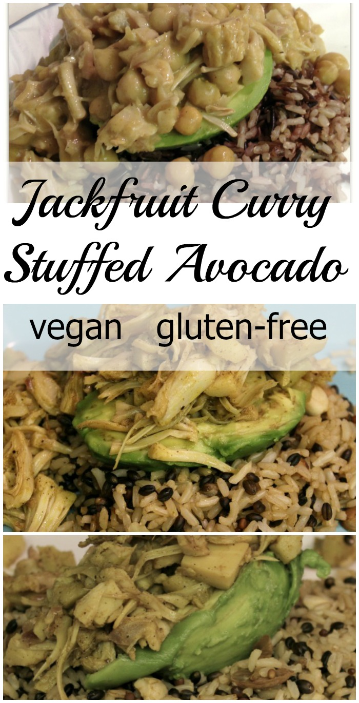 Jackfruit Curry is a delicious, vegan, whole-food way to stuff an avocado!