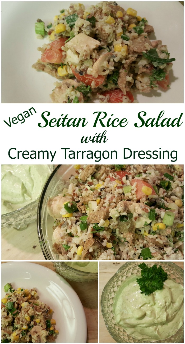 This seitan rice salad with creamy tarragon dressing has to be my favorite restaurant re-creations of all time. It is vegetarian and vegan and can be made gluten-free by exchanging a gluten-free, vegan chicken like Beyond Meat for the seitan.