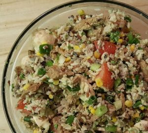 Vegan Seitan Rice Salad with Creamy Tarragon Dressing