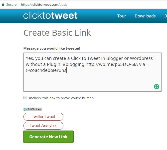Yes, you can create a Click to Tweet for your blog post without a Plugin! Perfect for bloggers who use Blogger or WordPress.com!