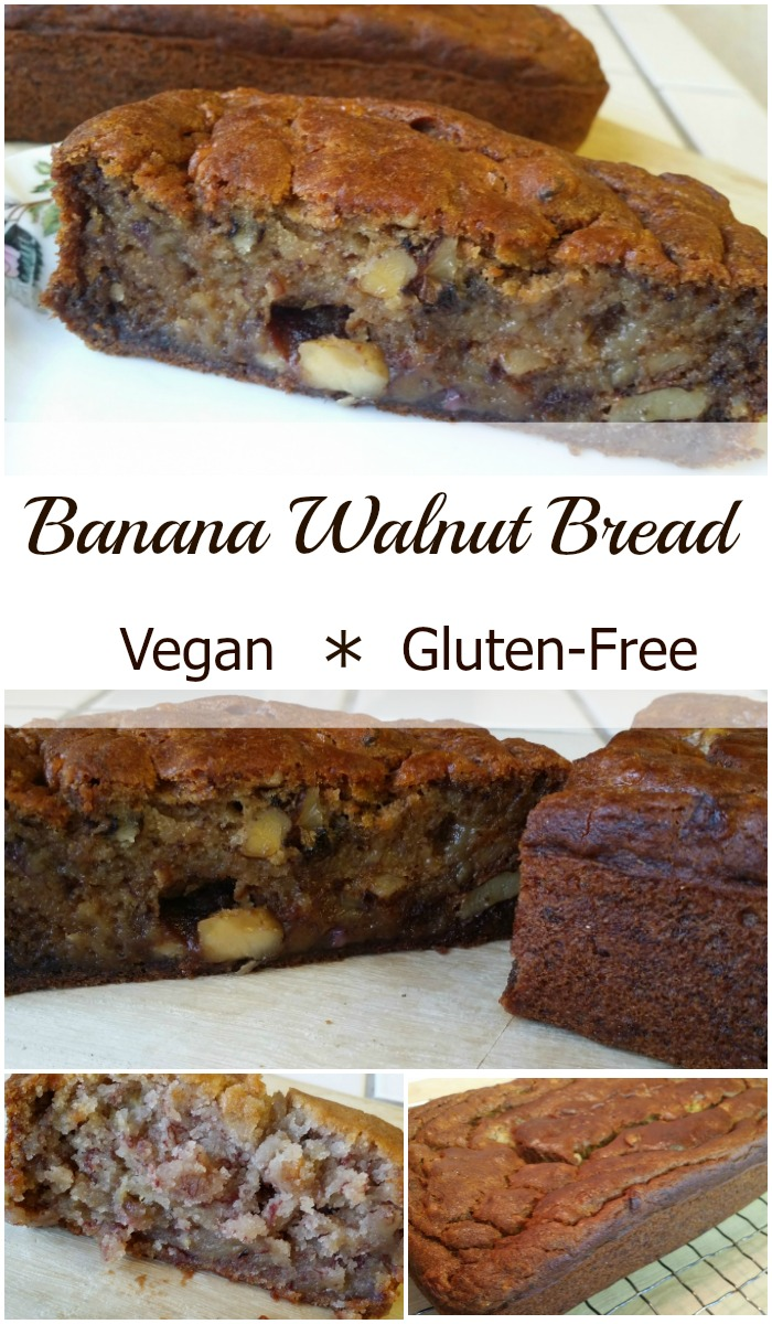 This delicious Banana Walnut Bread is gluten-free, vegan, plus has reduced sugar and oil.