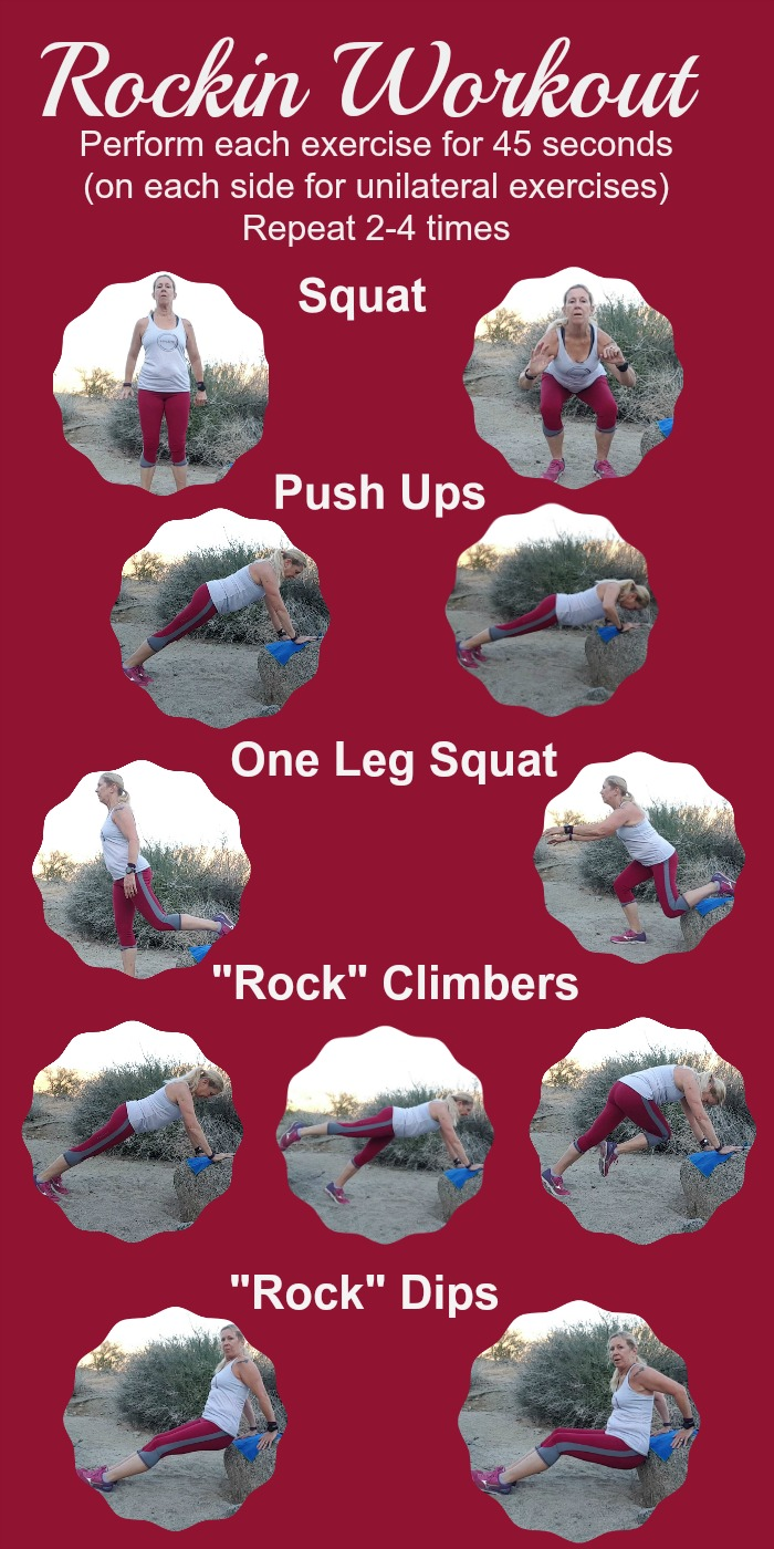 I was inspired by nature on my hike last week, so I created this rockin workout! Follow along on the video or the graphic!