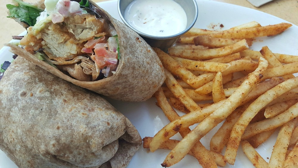 Yes, it's vegan! The Twister Wrap, fries, and Oatmeal Cream cookie from Native Foods!