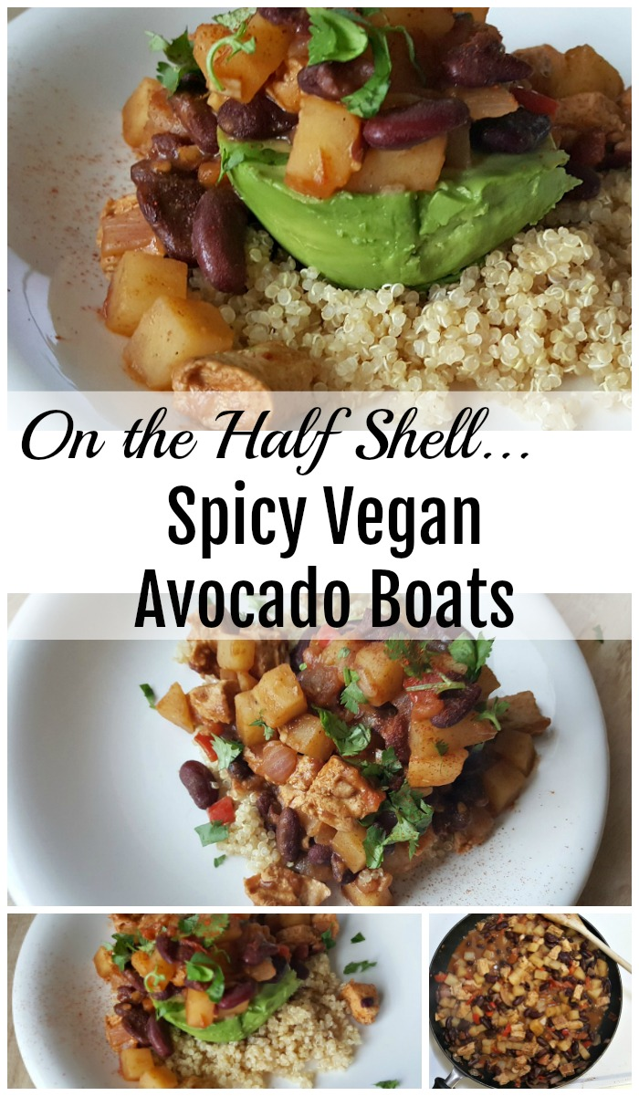 These Spicy Vegan Avocado Boats are vegan, gluten-free, and delicious! I used Beyond Meat Chicken Strips, but feel free to substitute your favorite plant-based protein!