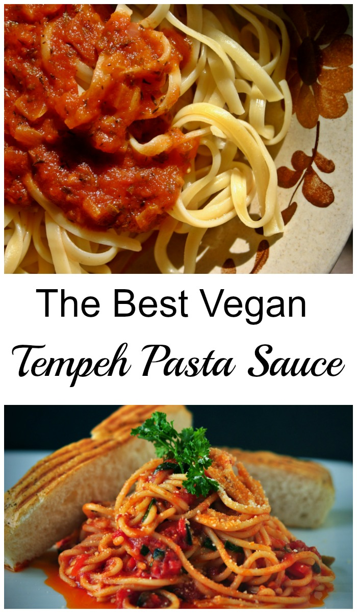 This vegan tempeh pasta sauce is a quick and easy plant based version of your favorite!