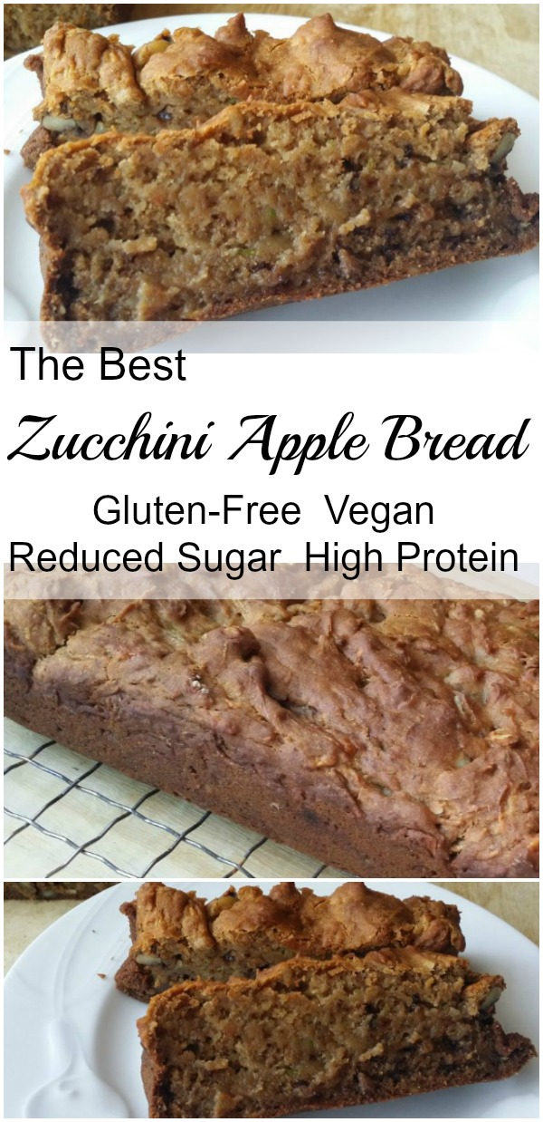 The best Zucchini Apple Bread! It's vegan, gluten free, lower in sugar, and higher in protein. And delicious!
