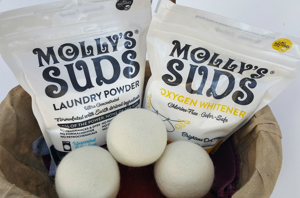 Make your laundry day brighter! Enter to win the awesome pack from Molly's Suds. Laundry Powder, Oxygen Whitener, and Wool Dryer Balls!