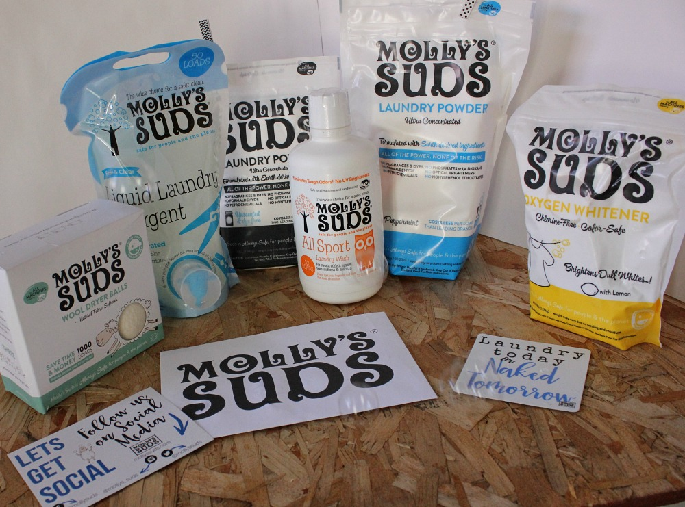 All the great stuff for laundry day from Molly's Suds, including Wool Dryer Balls, Oxygen Whitener, Liquid Laundry Detergent and more!