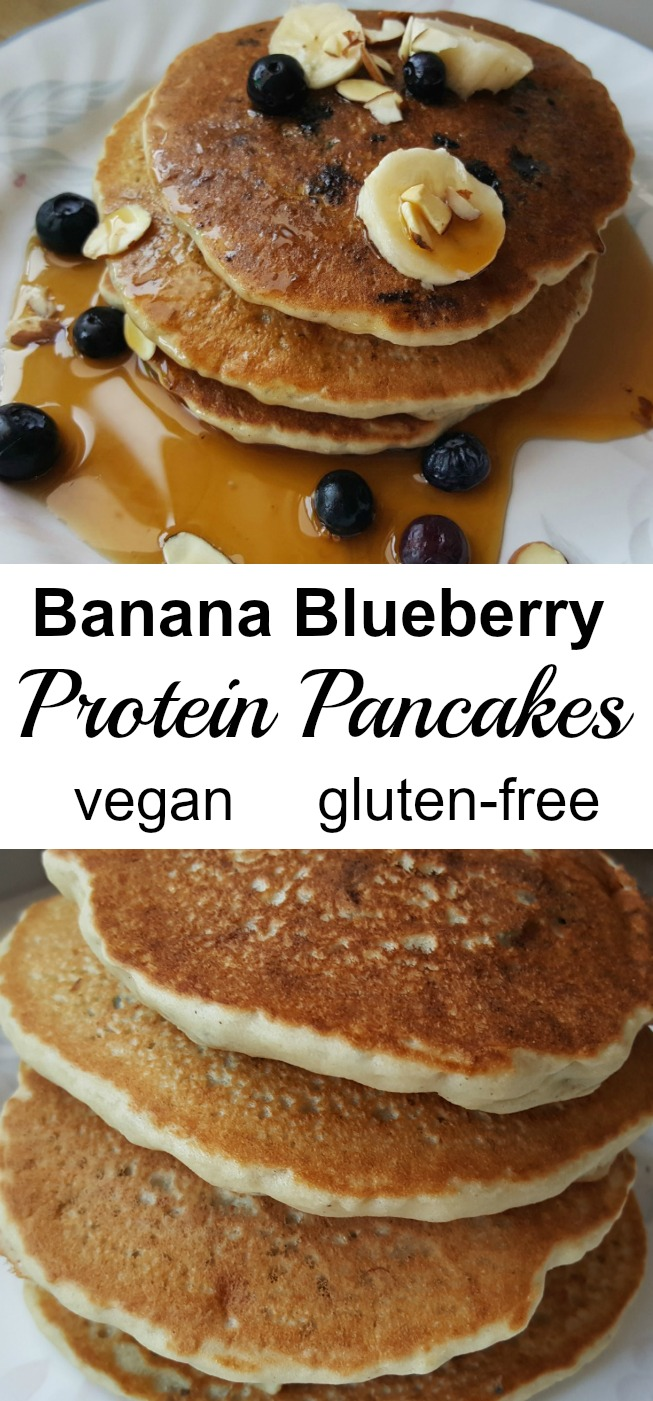 Who knew vegan and gluten-free pancakes could be so easy? You'll love these Banana Blueberry Protein Pancakes! They are also gluten-free and have no added sugar! #vegan #glutenfree #veganrecipe #veganpancakes #glutenfreepancakes #breakfastrecipe
