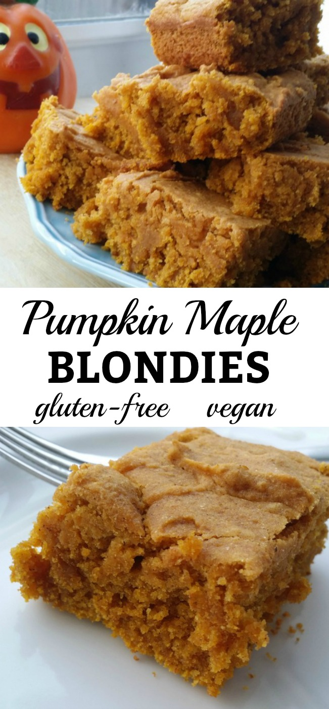 For your pumpkin addiction: Pumpkin Maple Blondies recipe. Delicious, vegan, and gluten free.