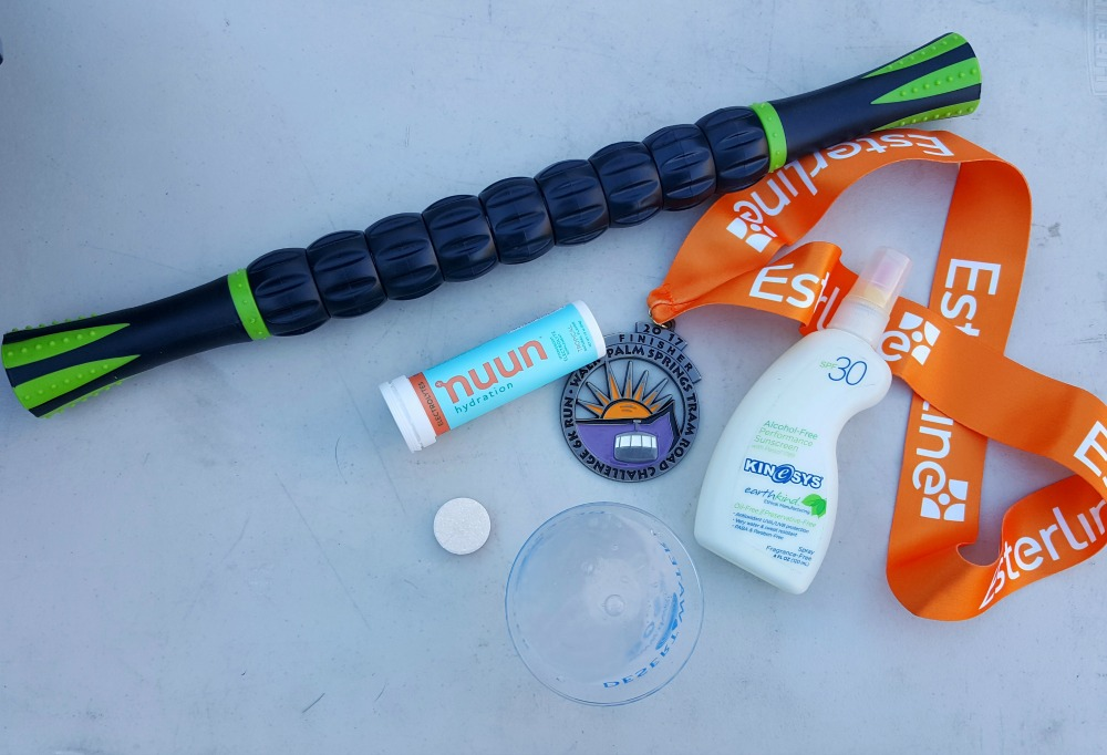 So glad I brought this Race Recovery Pack, with my Muscle Roller Stick, Nuun tablets, and Kinesys Suncreen!