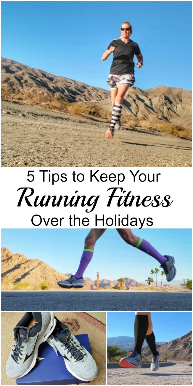 The holidays are a wonderful time of year, but it can be difficult to keep up your running fitness during that busy time. Here are 5 tips that will help, plus my Mizuno Wave Rider 21 review. #ad #waverider21 #running #runningfitness #runningtips #runningshoes