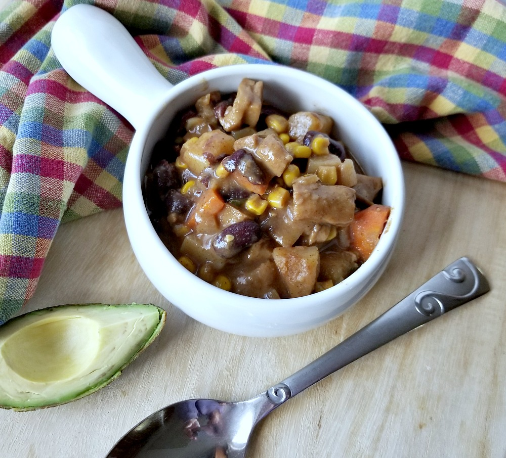 Have you heard of vegan Stew-Chi? You'll love this spicy seitan skillet meal that is a perfect combination of stew and chili! #vegan #veganrecipe #recipe