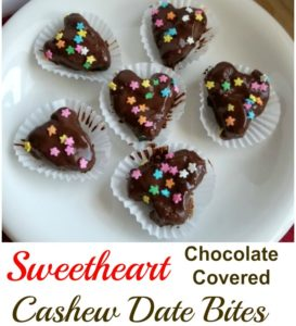 Sweetheart Chocolate Covered Cashew Date Bites – Vegan and Gluten-Free