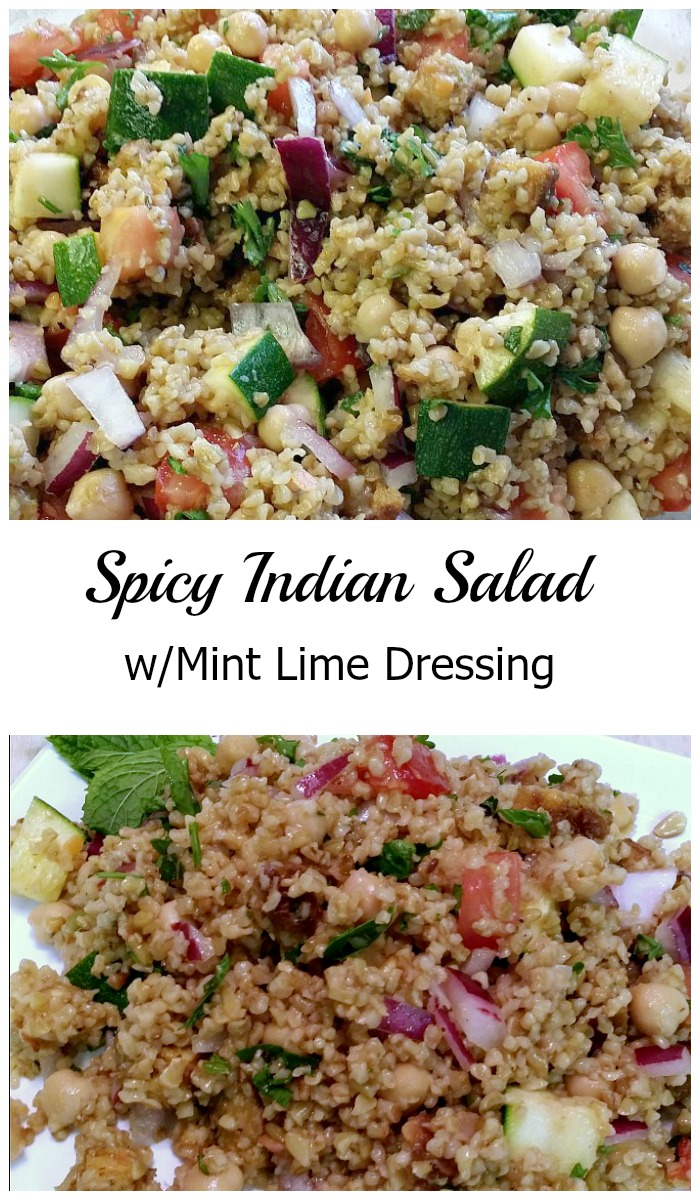 This deliciously spicy Indian Salad is made with freekeh, faro, or your favorite grain (make it gluten-free with buckwheat or quinoa!), lots of fresh veggies, and a light mint lime dressing. Perfect on its own or as a side dish! #vegan #vegetarian #veganrecipe #MeatlessMonday